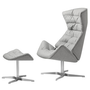 moderner Sessel / Stoff / Leder / Stahl