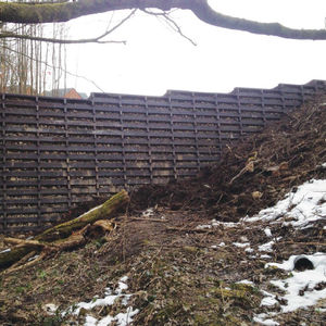 Beton-Stützmauer / Fertigbau / bewehrter Erde / Verkehrs