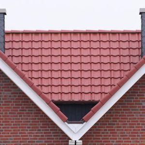 Falzdachziegel / aus Beton / rot / glatt