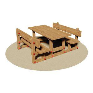 Rustikal-Tischgarnitur / Holz / für Kinder / Innenraum