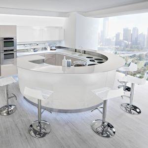 moderne Küche / Laminat / rund / lackiert