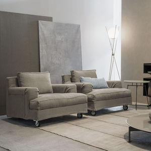 moderner Sessel / Stoff / mit Rollen