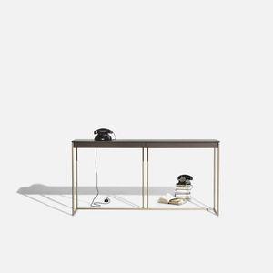 moderner Konsolentisch / aus Eiche / mit Fußgestell aus Bronze / rechteckig
