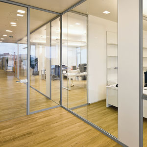 abnehmbare Trennwand / Glas / Büro / transparent