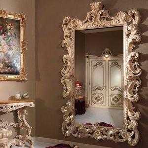 wandmontierter Spiegel / Barock / rechteckig / lackiertes Holz