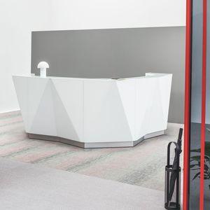 modulare Empfangstheke / für Eckeinbau / Glas / beleuchtet