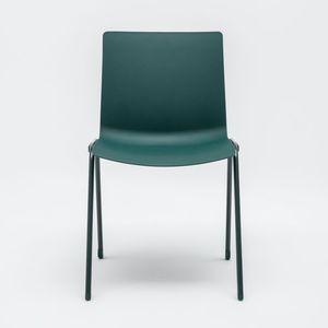 moderner Stuhl / stapelbar / pulverbeschichteter Stahl / Objektmöbel
