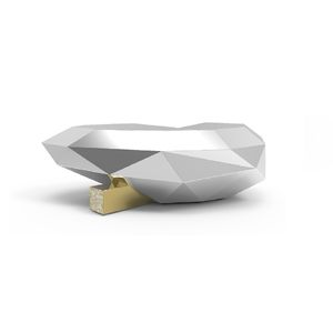 Couchtisch / originelles Design / Holz / Messing / Marmor
