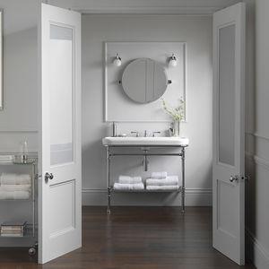 wandmontierter Spiegel für Badezimmer / modern / rund / Stahl