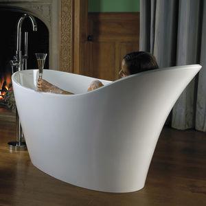 freistehende Badewanne / oval / aus Harz / Kalkstein