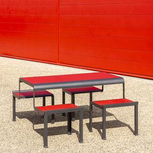 moderner Picknicktisch / Stahl / HPL / mit Fußgestell aus Stahl