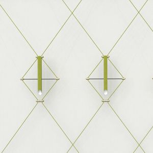 moderne Wandleuchte / lackierter Stahl / gebürstetes Messing / Stoff