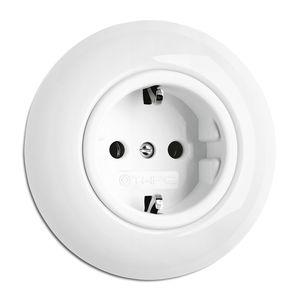 Unterputz-Steckdose / Porzellan / modern / weiß