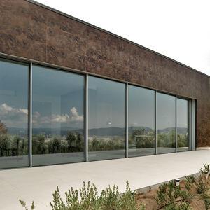 Platten-Fassadenverkleidung / Keramik / strukturiert / Metalloptik