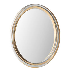 wandmontierter Spiegel / modern / oval / Holz