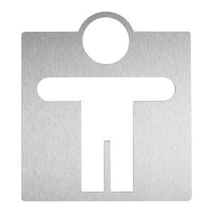 Tür-Piktogramm / Edelstahl / zum Kleben / für sanitäre Anlagen