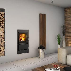 Geschlossene Feuerstelle / Holz / Multibrennstoff / 1 Sichtseite / Metall