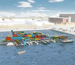 schwimmendes Gebäude / für Büro / für öffentliche Einrichtungen / für Spielplätze