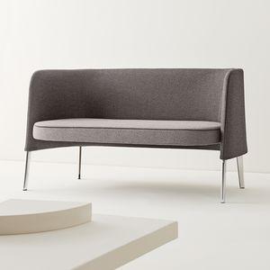modernes Sofa / Stoff / Leder / Metall
