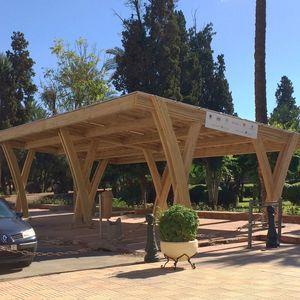 Holz-Carport / Objektmöbel / mit integrierten Solarmodulen