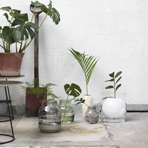 moderne Vase / geblasenes Glas / Holz