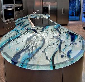 Glasarbeitsplatte / für Küchen / hitzebeständig / originelles Design