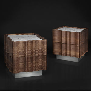 Nachttisch / originelles Design / Massivholz / amerikanischer Nussbaum / rechteckig