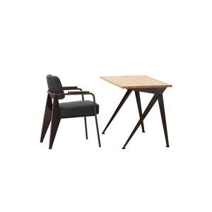 Schreibtisch aus Eiche / Massivholz / amerikanischer Nussbaum / Stahlblech