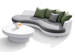 moderner Lampentisch / Glasfaser / oval / für den Außenbereich