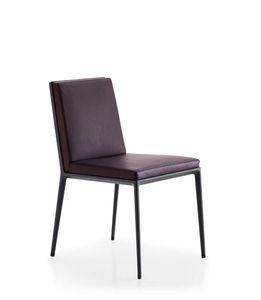 moderner Stuhl / Polster / Leder / Aluminium