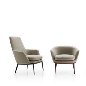 moderner Sessel / Stoff / Aluminiumguss / drehbar