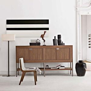 hochbeiniges Sideboard / modern / Massivholz / mit Regal