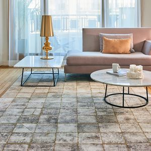 moderner Teppich / Karomuster / Wolle / aus Bambus