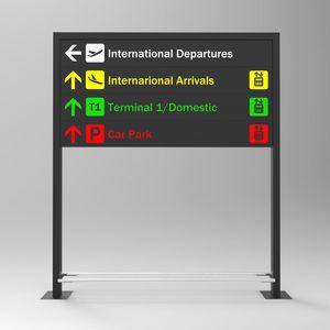 Orientations-Schild / bodenstehend / Aluminium / doppelseitig