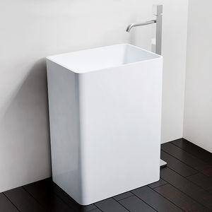 freistehendes Waschbecken / rechteckig / aus Mineralguss / modern