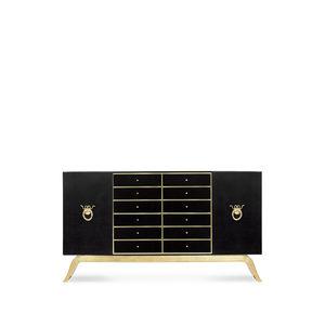klassisches Sideboard / lackiertes Holz / Metall / Leder
