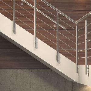 Edelstahlgeländer / Glasplatten / mit Stangen / Innenraum