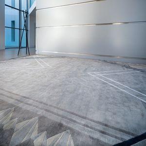 moderner Teppich / Geometrische Motive / aus pflanzlicher Seide / rechteckig