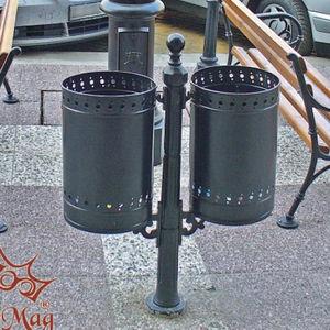 Park-Abfallbehälter / bodenstehend / verzinkter Stahl / Gusseisen