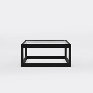 moderner Couchtisch / Glas / mit Fußgestell aus Eiche / quadratisch