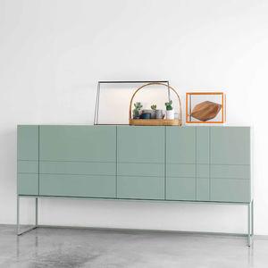 hochbeiniges Sideboard / modern / lackiertes MDF / gestrichenes Metall