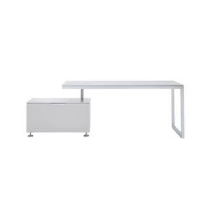 Schreibtisch aus Eiche / lackiertes Holz / Natureiche / Stahl