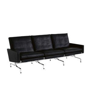 Sofa / skandinavisches Design / Leder / Stahl / polierter Edelstahl