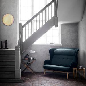 modernes Sofa / Stoff / Holz / gebürstetes Aluminium