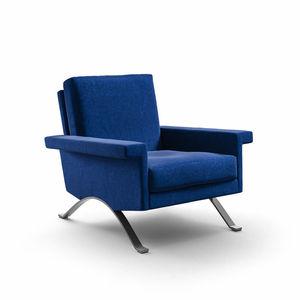 moderner Sessel / Stoff / mit abnehmbarem Kissen / blau