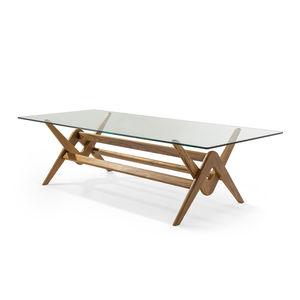 moderner Tisch / aus Eiche / Glas / mit Fußgestell aus Massivholz