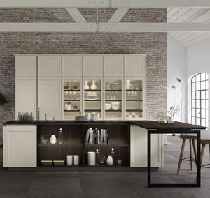 moderne Küche / Holz / Glas / lackiertes Aluminium