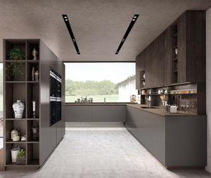 moderne Küche / Aluminium / Edelstahl / aus Eiche