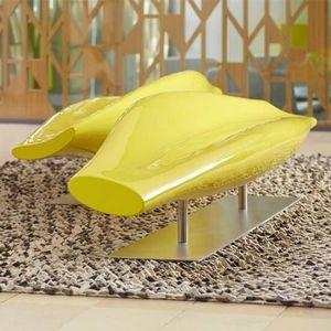 minimalistische Polsterbank / Glasfaser / Objektmöbel / mit Rückenlehne