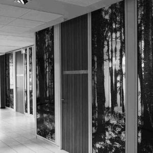 abnehmbare Trennwand / Holz / Aluminium / Verbundwerkstoff